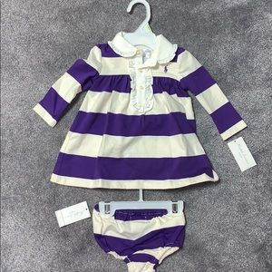 Ralph Lauren baby girl striped 2 piece layette new